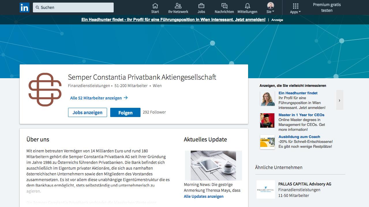 FischundFleisch-Textproduktion für die Semper Constantia Privatbank auf LinkedIn